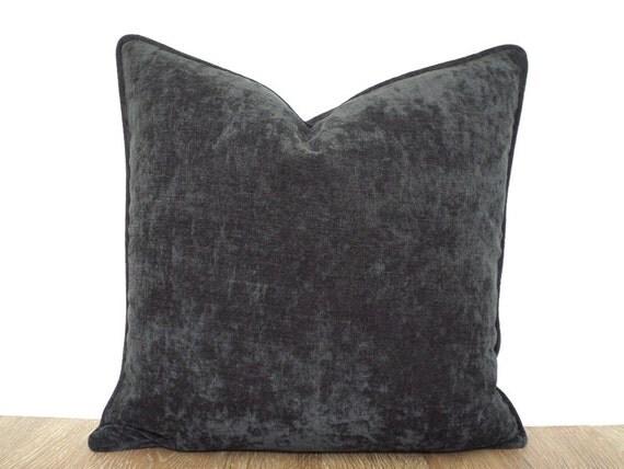 Velour Throw Pillows : Dark gray velour velvet pillow cover velveteen pillow with