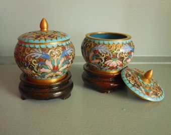 Pair of Asian Cloisonne Containers