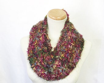Bulky Scarf, Multi Color Scarf, Infinity Scarf, Loop Scarf, Circle Scarf, Raspberry, Gift For Her, Knit Infinity Scarf