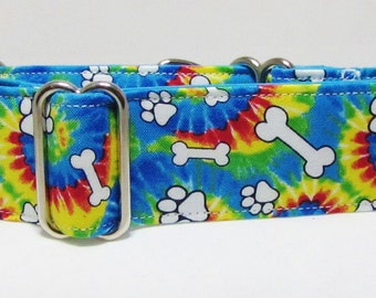 """Martingale Collar, Peace Love and Dogs, tie dye collar, Buckle Collar, 3/4"""", 1"""", 1-1/2"""" 2"""" Martingale by Iggy's Designs Rainbow Pattern"""
