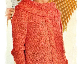 Knitting Pattern - Vintage Women's Cable Cowl Chunky Knit Sweater Knitting Pattern PDF 1967