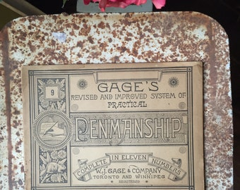Antique penmanship practice guide. 1885 Gage's revised and improved