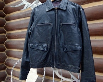 1980's, men's black biker jacket, size large, made in Italy, by GAS
