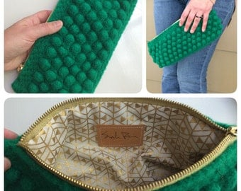 Clutch - Emerald Green Wool Felted Bubble Purse