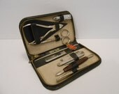 Echt Stahl Germany Nail Manicure Kit/7 Piece in a Black Zippered Leather Case from the 60's to 70's