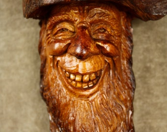 Unique wood carving of a wood spirit tree spirit wooden Sculpture