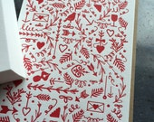 Letterpress Valentine Pattern card