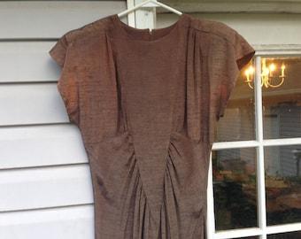Brown Silk 1920s Flapper Dress
