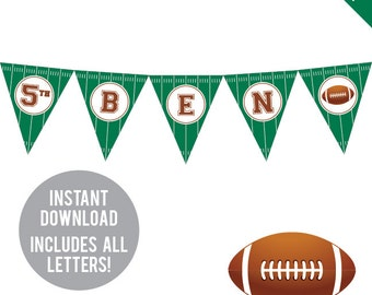 INSTANT DOWNLOAD Football Party - DIY printable pennant banner - Includes all letters, plus ages 1-18