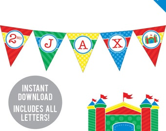INSTANT DOWNLOAD Bounce House Party - DIY printable pennant banner - Includes all letters, plus ages 1-18