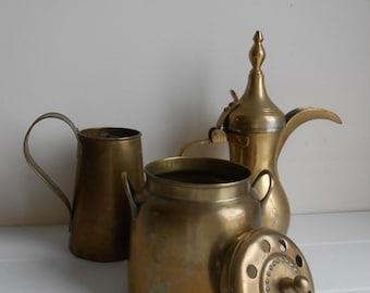 Set of Three Vintage Brass Home Decor Accents . Pitcher or Tea Pot . Incense Holder or Burner . Tankard or Mug . Instant Collection