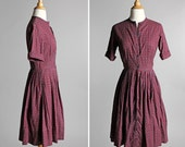 Vintage Maroon Paisley Shirt Dress - 1950's Full Skirt Short Sleeve Pin Up Hourglass Summer 50s Red Button Up Cotton - Size Small
