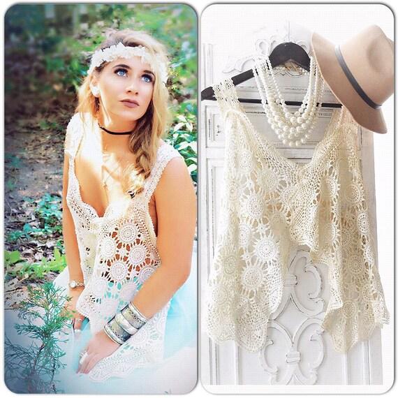 Lg Crochet crop top, romantic Coachella boho festival halter top, Electric Daisy Princess Fae, Woodland fairy crop top True rebel clothing