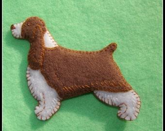 Springer Spaniel-handmade original felt ornament-magnet combo. Great doggie gift idea.