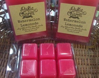 Watermelon Lemonade Hand made Soy Blend Candle Wax Melts Breakaway Clamshell Tarts Rustic Charm
