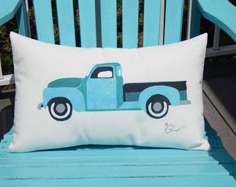 "VINTAGE PICKUP truck pillow 12""x20"" hot rod classic car motorhead auto restoration all weather your color choice Crabby Chris™ Original"