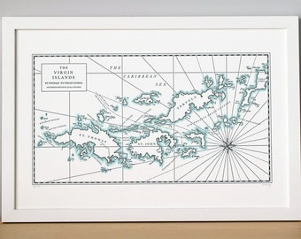 Virgin Islands, Letterpress Printed Map Print