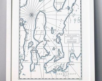 Narragansett Bay and Newport Harbor, Rhode Island, Letterpress printed Map (Dark Grey)