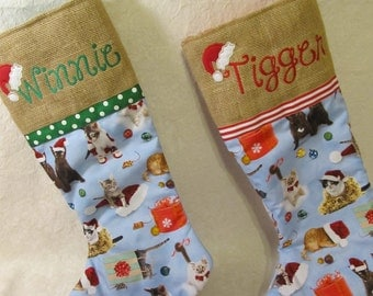 Burlap cat stocking, Choice of red or green ribbon, Cat Christmas stocking, Cats with burlap Christmas, Santa hat, choice of name