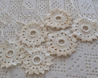Vintage Shade Pulls Off White Crochet 6 Pc.