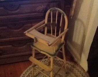 Wood Doll Highchair Antique 1940's Child's Toy