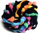 Handspun rainbow yarn with coils and beehives - 15 yards, 3 ounces/86 grams