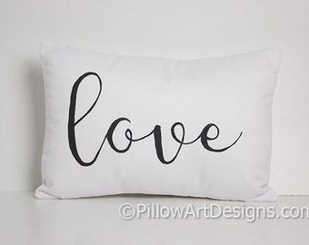 Love Pillow Black and White Cotton 9 X 13 Hand Painted Made in Canada