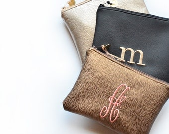 Monogram Clutch Initial Purse Custom Personalized Gift for Her Pouch Bridesmaid Handbag Cosmetic Metallic Faux Leather Best Friend