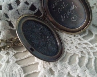 You are Enough Hand Engraved Floral Locket