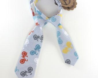 Boy's Tie - Grey Bicycle Print - Bike Theme Necktie - Grey, White, Orange, Yellow, Blue Novelty Print - any size - In Stock boys neckties