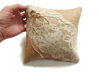 Burlap pillow, ring pillow, ring bearer pillow, burlap and lace, small pillow, ring cushion, rustic country wedding pillow