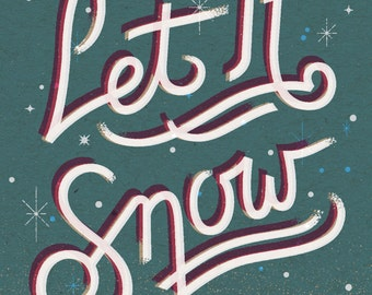"""Let It Snow Holiday Print - 8"""" x 10"""" Art Print on 100# French Speckletone Kraft Cover, Vintage-Inspired"""