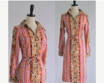 Vintage 1970s Dress 70s Dress 1960s Dress 60s Dress Womens Mod Dress Wild Print Dress Shift Dress 1970s Clothing Size Small Medium