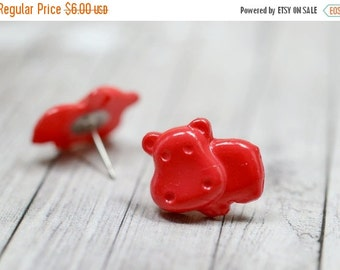SALE Bright Red Hippo Earrings, Red Hippopotamus Earrings, Cute Jewelry, Adorable Animal Jewelry, Hungry Hippo Jewelry, Vegan Jewelry