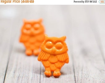 SALE Orange Owl Earrings, Fun and Funky Owl Jewelry, Bright Orange Bird Earrings, Owl Lovers