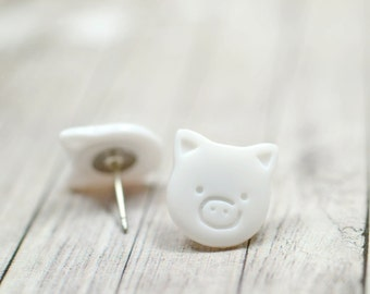 White Pig Earrings, Cute Pigs, Little Piggies Farm Animals Jewelry, Animal Earrings, Pig Jewelry Bright White Vegan Jewelry