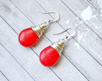 Bright Red Turquoise Earrings, Silver Wire Wrapped Teardrop Briolettes, Faux Turquoise Drops, Vibrant Lipstick Red Jewelry