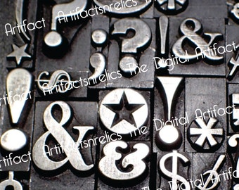 "Vintage letterpress symbols Black and white Photo up to 8""X8"""