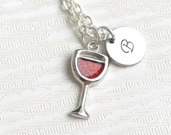 Personalized Wine Necklace, Wine Lover Necklace, Personalized Friendfsip Necklace, Best Friends Wine Necklace, Best Friend Jewelry