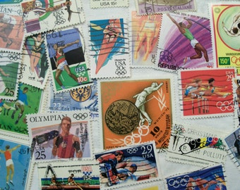 50 Olympics, Postage Stamps,  Olympic Stamps, Track, Gymnastics, Olympics, Vintage Stamps, World Wide