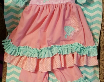Boutique OOAK Custom Made Dotted Butterfly Double Ruffle Dress and Double Ruffle Pantaloons Set