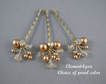 Bridal Bobby Pins, Blonde clip, Ivory Champagne hair clips, Wedding Accessories, Pearl crystals hair clips, Gold hair clips, Set of 3 clips