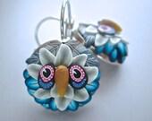 Owl Earrings, Woodland Earrings, Polymer Clay Earrings, Blue Earrings, Blue Owl Earrings, Wearable Art