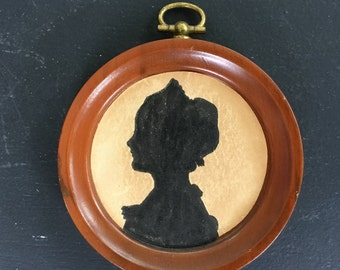 Vintage Small Round Sillouette Young Woman