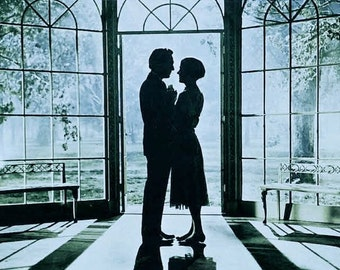 Romantic Lovers Sound of Music Julie Andrews Christopher Plummer Film Movie Promotion Blue Moonlight Garden Gazebo Love Photographic Print
