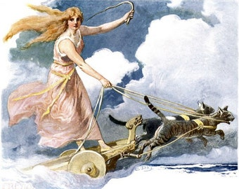 Freya Norse Goddess from Vintage Illustration Wife of Odin Chariot Cats Frigg Freja Old Viking Myth Mythology Reprinted New from Old Image