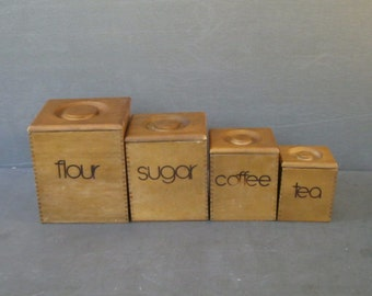 Wooden Dovetailed Kitchen Canister Set