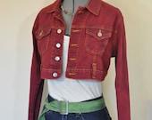 RESERVED Red Jrs. Large Denim JACKET - Scarlet Red Dyed Nine Planet Denim Jean Cropped Trucker Jacket - Adult Womens Junior Large (38 chest)