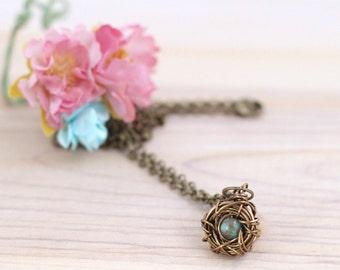 Bronze birds nest pendant, new mother gift, antique brass wire bird nest charm, bird necklace gift for mom