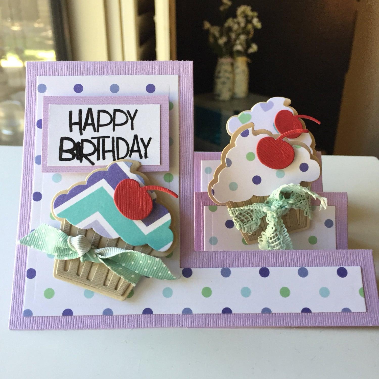 Happy Birthday Cupcake Lavender And Teal Handmade Greeting